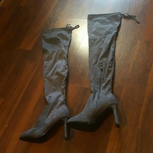 Charcoal gray knee high boots